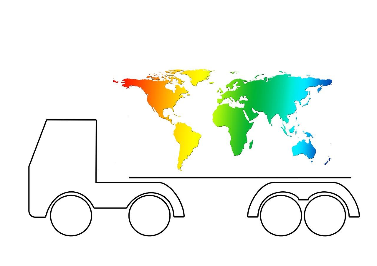 מפת עולם ומשאית